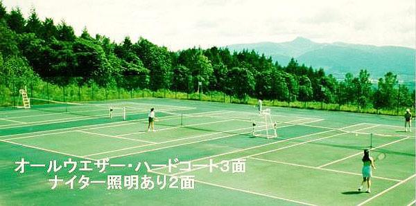 全天候3面 の自家テニスコート